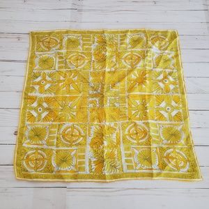 Vintage Bonwit Teller Yellow Pattern Silk Scarf